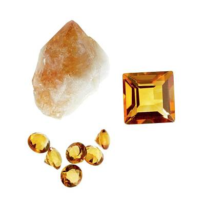 Citrine Gemstones And Crystal Poster by Science Photo Library