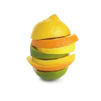 Citrus Fruit Slices In A Stack Poster by Science Photo Library