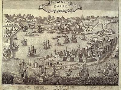 City And Harbour Of Cadiz. Engraving Poster