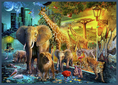 Poster featuring the drawing City Animals by Jan Patrik Krasny