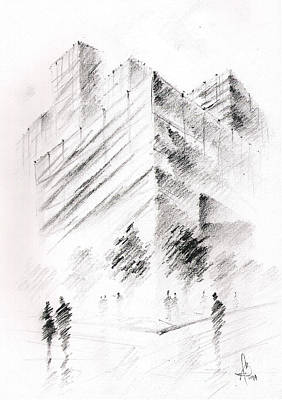 Poster featuring the drawing City Building by Fanny Diaz