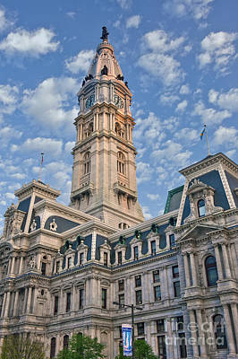 City Hall Clock Tower Downtown Phila Pa Poster by David Zanzinger