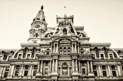 City Hall Facade - Philadelphia - Sepia Poster by Bill Cannon
