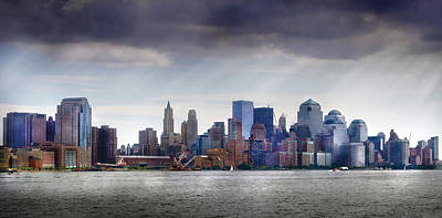 City - Hoboken Nj - New York City - Pano Poster by Mike Savad