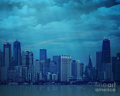 City In Blue Poster by Bedros Awak