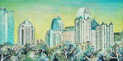 City In The Trees Poster by Natalie Huggins