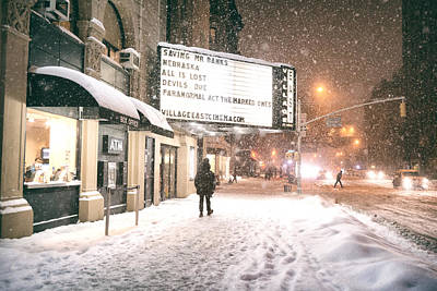 City Lights And Snow At Night - New York City Poster by Vivienne Gucwa