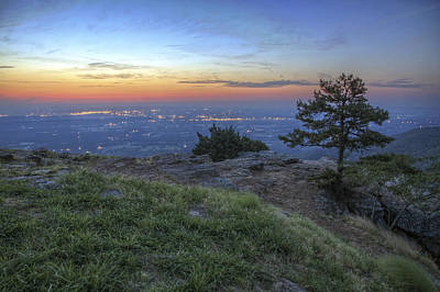 City Lights From Sunrise Point At Mt. Nebo - Arkansas Poster by Jason Politte