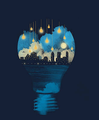 City Lights Poster by Neelanjana  Bandyopadhyay