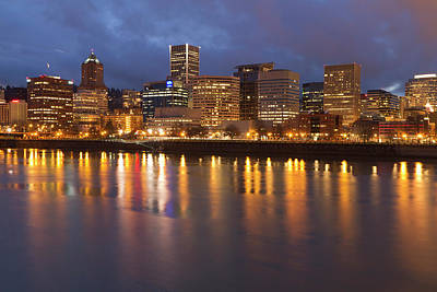City Lights Reflected In The Willamette Poster