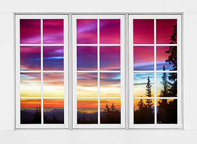City Lights Sunrise View Through White Window Frame Poster