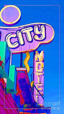 City Motel Old Neon Sign Las Vegas Oil Poster by Edward Fielding