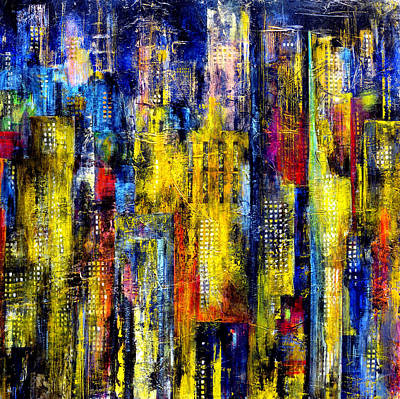 Poster featuring the painting City Nightime Metropolis by Katie Black