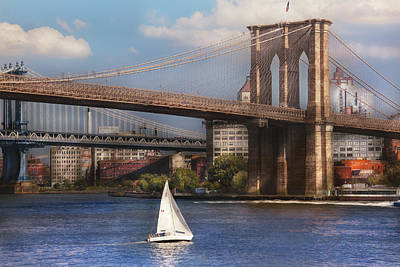 City - Ny - Sailing Under The Brooklyn Bridge Poster by Mike Savad