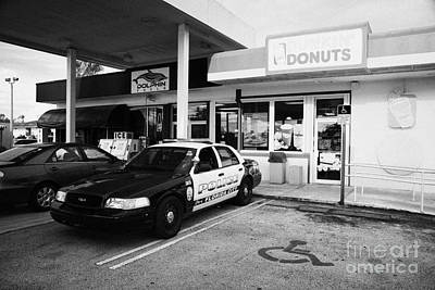 City Of Florida City Police Patrol Squad Car Parked Outside Dunkin Donuts Shop Usa Poster by Joe Fox
