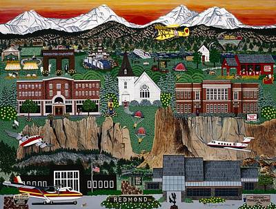 Poster featuring the painting City Of Redmond by Jennifer Lake