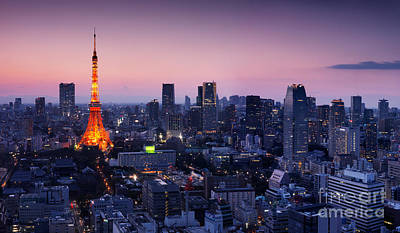 City Panorama With Tokyo Tower Illuminated In Twilight Poster by Oleksiy Maksymenko