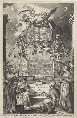 City People And Peasants Watching Two Skeletons And Angel Poster