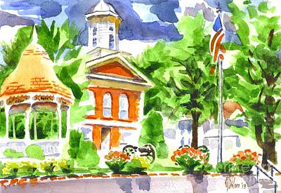 City Square In Watercolor Poster by Kip DeVore