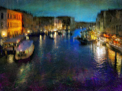 Poster featuring the photograph Cityscape #19. Venetian Night by Alfredo Gonzalez