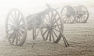 Civil War Cannons In Fog Poster