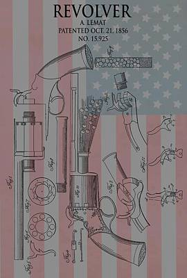 Civil War Revolver American Flag Poster
