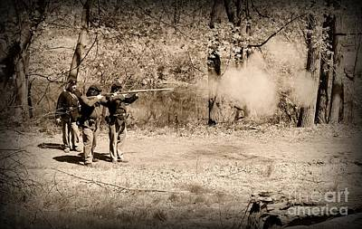 Civil War Soldiers Firing Muskets Poster by Paul Ward