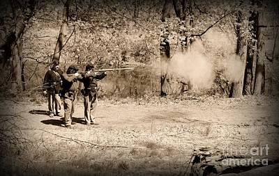 Civil War Soldiers Firing Muskets Poster
