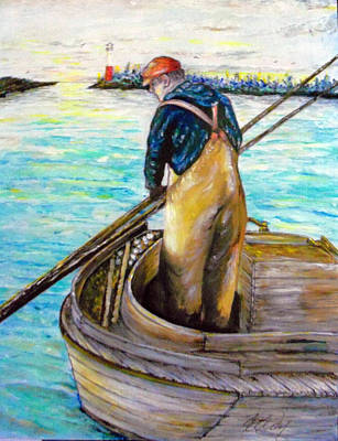 Clam Digger In The Barnegat Bay Poster by Martin Way