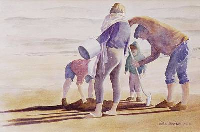 Poster featuring the painting Clam Diggers by John  Svenson
