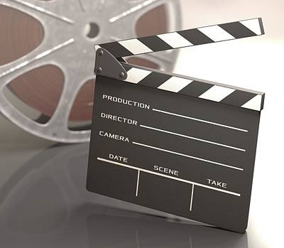 Clapperboard And Movie Reel Poster