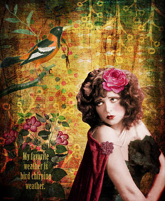 Clara Bow And The Bird Poster by Cat Whipple