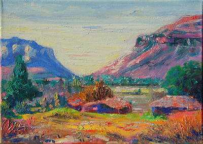 Poster featuring the painting Clarence Mountain Free State South Africa by Thomas Bertram POOLE