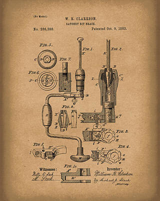 Clarkson Bit Brace 1883 Patent Art Brown Poster by Prior Art Design