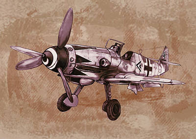 Classic Airplane In World War 2 - Stylised Modern Drawing Art Sketch Poster by Kim Wang