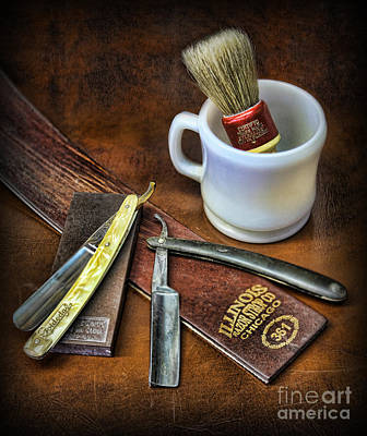 Poster featuring the photograph Classic Barber Shop Shave - Barber Shop by Lee Dos Santos