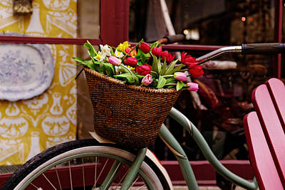 Classic Bike With Tulips Poster