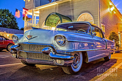 Classic Blue Caddy At Night Poster by Edward Fielding