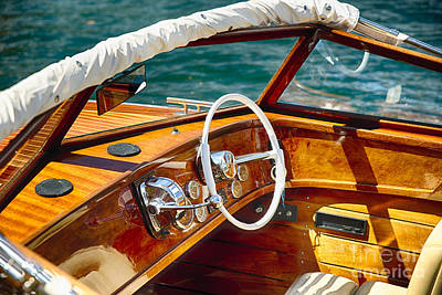 Classic Boat Lake Como Style Poster by George Oze