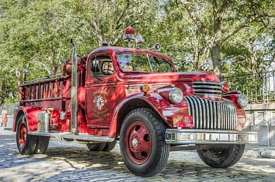 Classic Chevy Fire Truck  Poster by Drew Castelhano