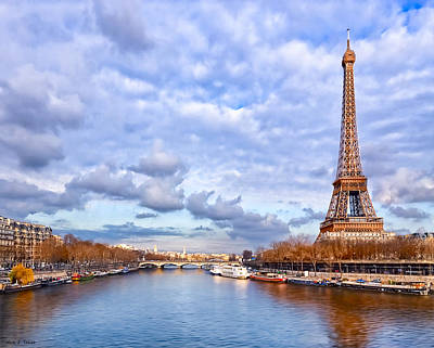 Classic Eiffel Tower View From The Seine Poster by Mark E Tisdale