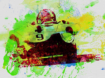 Classic Ferrari On Race Track Poster