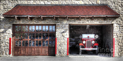 Classic Fire Engine At The Firehouse Poster by Twenty Two North Photography