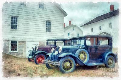 Classic Ford Model A Cars Poster by Edward Fielding