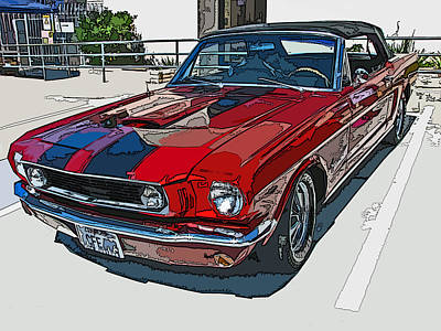 Classic Ford Mustang Convertible Poster by Samuel Sheats
