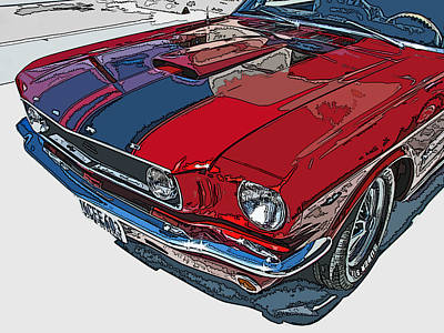 Classic Ford Mustang Nose Study Poster by Samuel Sheats