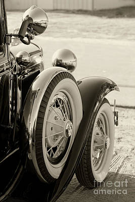 Classic Ford Police Car Automobile In Sepia 3014.01 Poster by M K  Miller