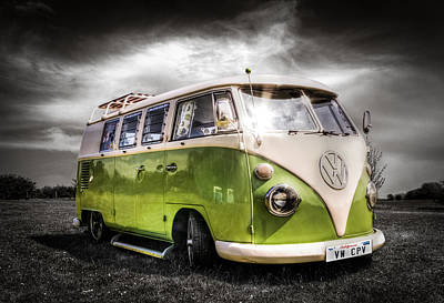 Classic Green Vw Campavan Poster by Ian Hufton