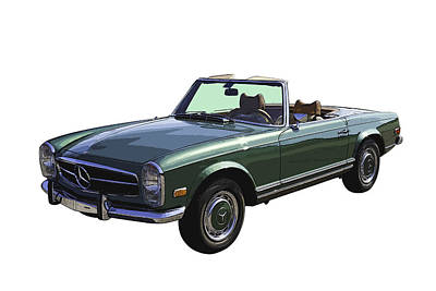 Classic Mercedes Benz 280 Sl Convertible Automobile Poster by Keith Webber Jr