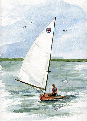 Poster featuring the painting Classic Moth Boat by Nancy Patterson